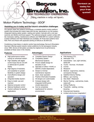 Three Axis (3DOF) Motion Base Platform Systems - Servos and